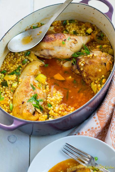 One Pot Garlic Chicken with Israeli Couscous via LittleFerraroKitchen.com