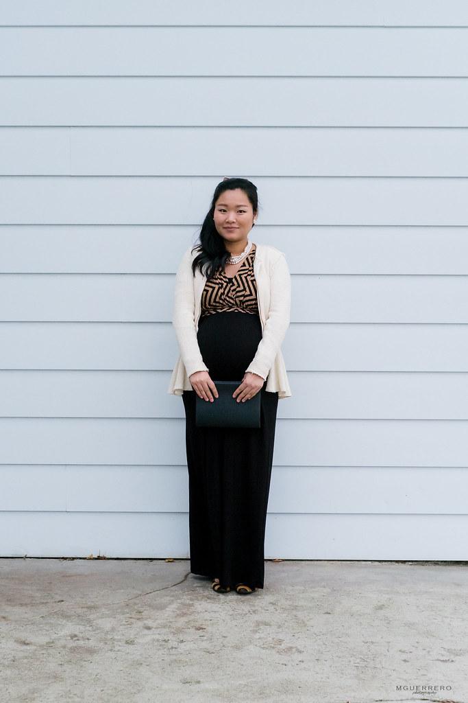 PinkBlush Maternity Chevron maxi dress, Zara cream peplum jacket