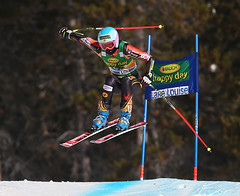 Gagnon catches some air during her run in the super-G at the FIS Alpine World Cup in Lake Louise, CAN