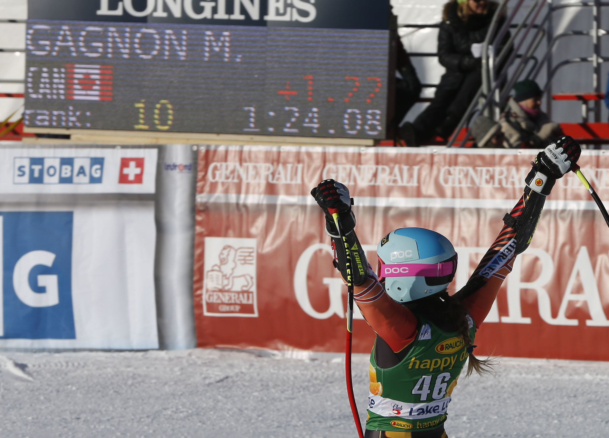 Gagnon celebrates a career best 10th place finish in the super-G at the FIS Alpine World Cup in Lake Louise, CAN