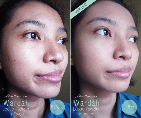 Wardah Loose Powder Beige Before After Puff