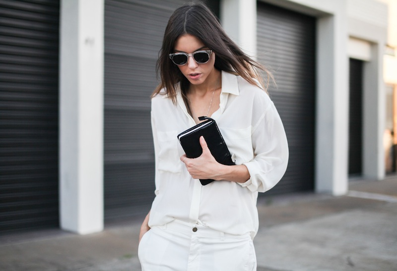 modern legacy fashion style blogger australia Camilla Marc silk shirt Bassike slouch pants Witchery snakeskin clutch Comverse Dainty All Star trainers Sambag sunglasses summer street style (3 of 10)
