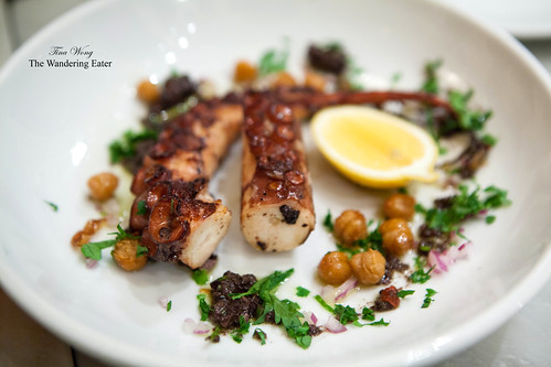 Grilled octopus, fried chickpeas, broken vinaigrette