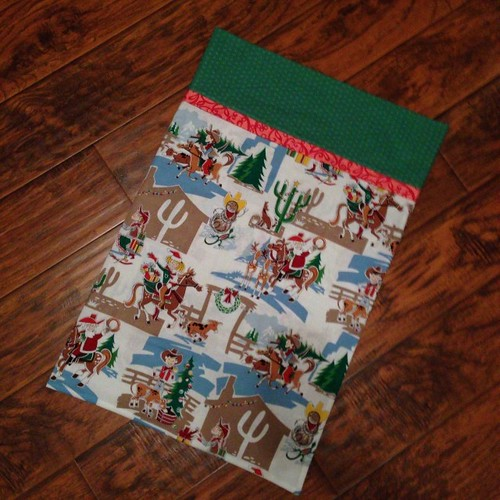 Christmas Cowgirl Pillowcase... and with that gifts are done! #handmadeholidays