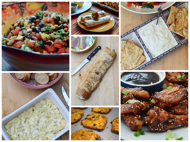 Seven images of different foods.