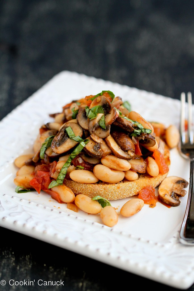 Mushroom, Tomato & Basil Ragout Recipe on English Muffin | cookincanuck.com #vegetarian #vegan