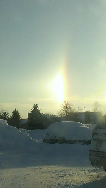 Rainbow in the winter sky