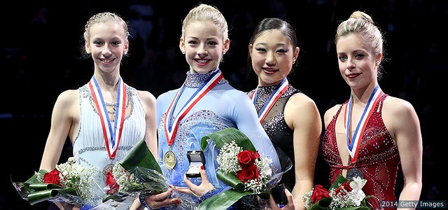 U.S. Nationals podium, l to r: Edmunds, Gold, Nagasu, and Wagner