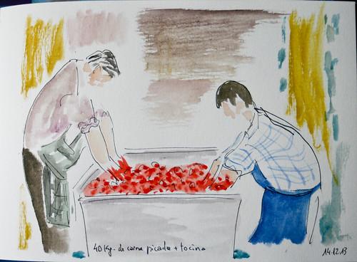 Elaboración de chorizos. Asturias