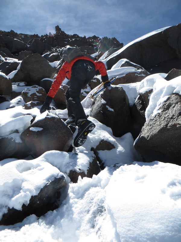 Slow going through the boulders at 6500m on Tres Cruces Sur