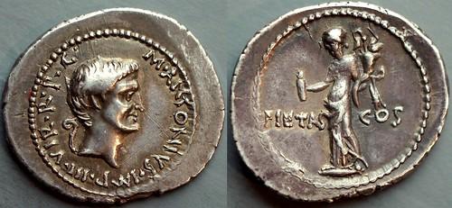 516/5 Antony Denarius. M.ANTONIVS IMP IIIVIR Antony, Pietas, censer and cornucopiae on which 2 storks, very large flan and strong strike. AM#1488-40, 22x20mm 3g96