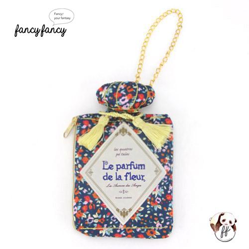 73.繽紛小花香水瓶造型隨身紙巾袋-藍紫
