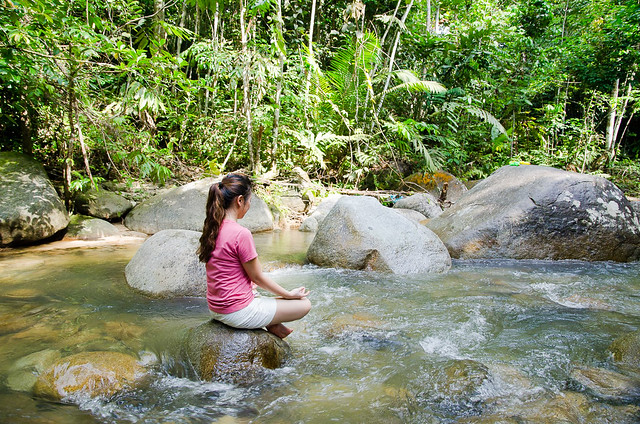 You can do Yoga here on the peaceful river near the Dusun