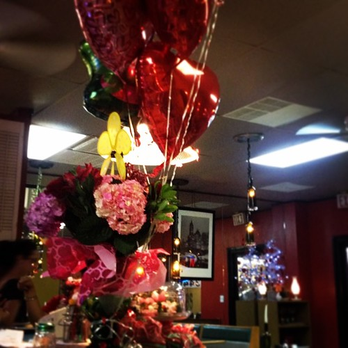 Even the pizza place is all about Valentine's Day.