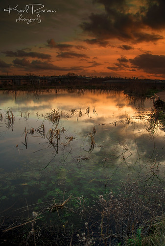 sunset sky water clouds reflections river puddle yorkshire stonehenge rotherham riverdon