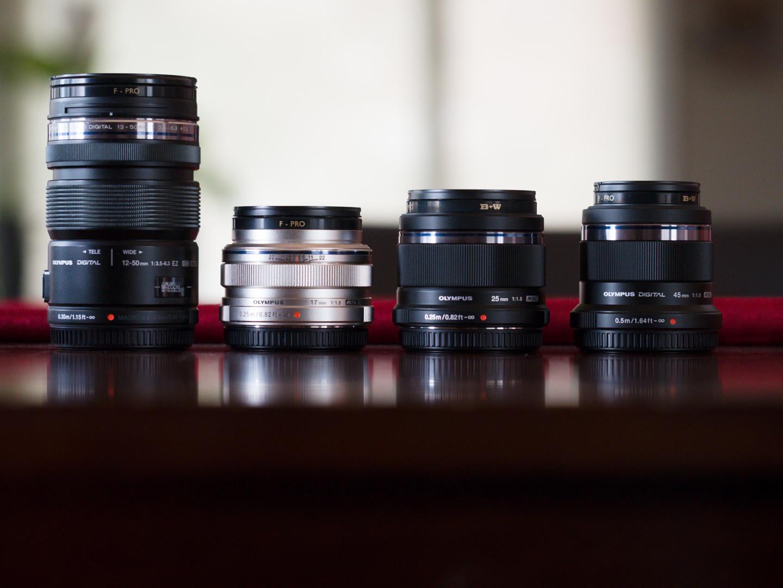 Olympus 12-50mm, 17mm, 25mm, 45mm