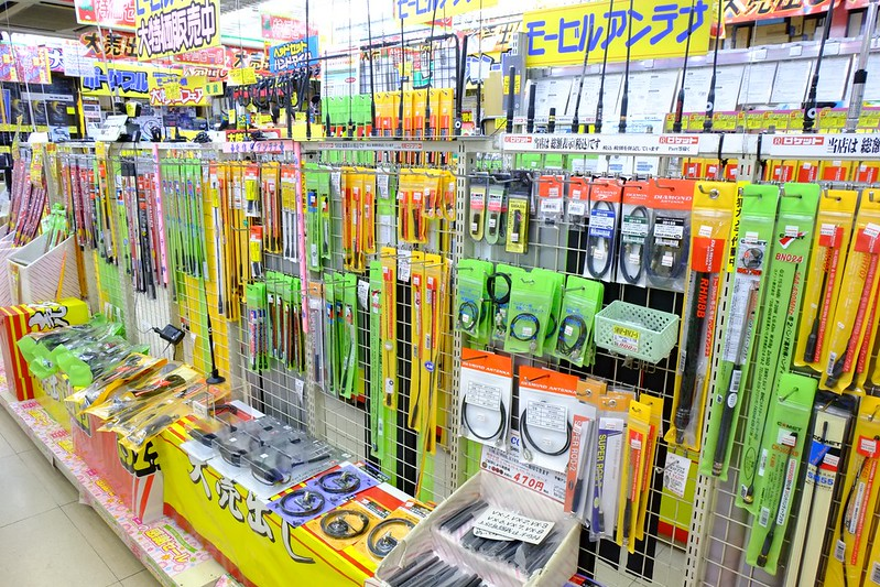 Antennas and other ham radio accessories on display at Rocket Radio Akihabara