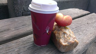 Banana Bread and Chai from Cinnamon Works and a doughtnut peach