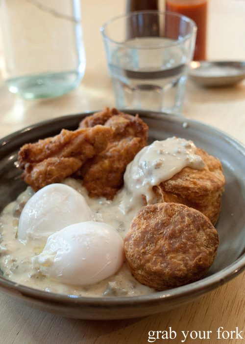 Fried chicken with biscuits and gravy at Rockwell and Sons, Collingwood, Melbourne