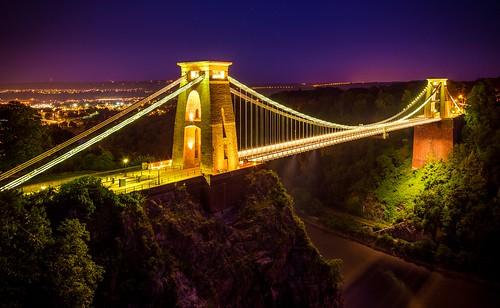 uk england night bristol landscape nikon lightroom thecliftonsuspensionbridge d5200 spanningthepicturesqueavongorge isthesymbolofthecityofbristolforalmost150yearsthisgradeilistedstructurehasattractedvisitorsfromallovertheworlditsstorybeganin1754withthedreamofabristolwinemerchantwholeftalegacytobuildabridgeoverthegorge