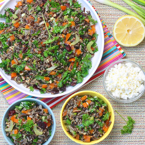 Wild Rice Summer Salad via MealMakeoverMoms.com/kitchen #vegan #vegetarian #kale #wildrice