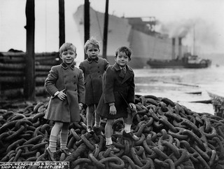 Young guests at the launch of the cargo ship 'Empire Crown'