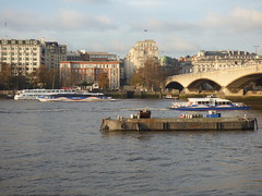 River Thames from the South Bank in London - Waterloo Bridge -  boats - mbna - Thames clippers - Cyclone Clipper and Storm Clipper