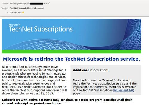 Vége a Technet előfizetéseknek
