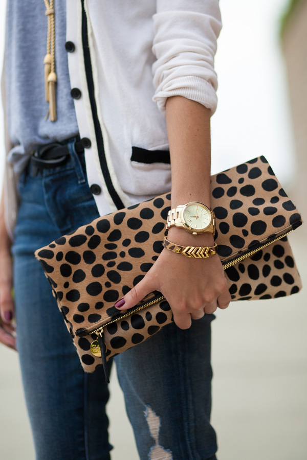 clare vivier, leopard calfhair clutch, michael kors watch