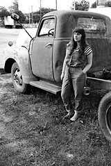 """Grays of Wrath outfit: Holding Horses """"denim jumper"""" Anthropologie overalls, black and white striped Gap t-shirt, quilted black flats, antique truck"""