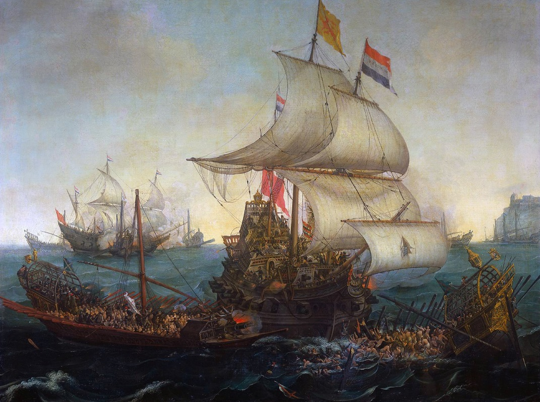 Enfrentamiento entre un galeón holandes y una galera española, en 1602. Autor desconocido (1617)