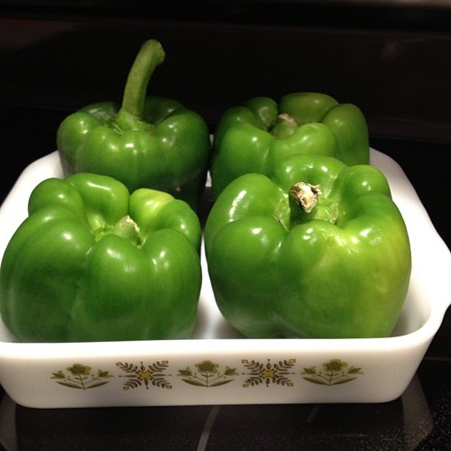 Recipe teaser! Yes...I am working on the Stuffed Green Peppers (paleo version). Be patient! #paleo #latfit #lowcarb #highprotein  #recipe #yum