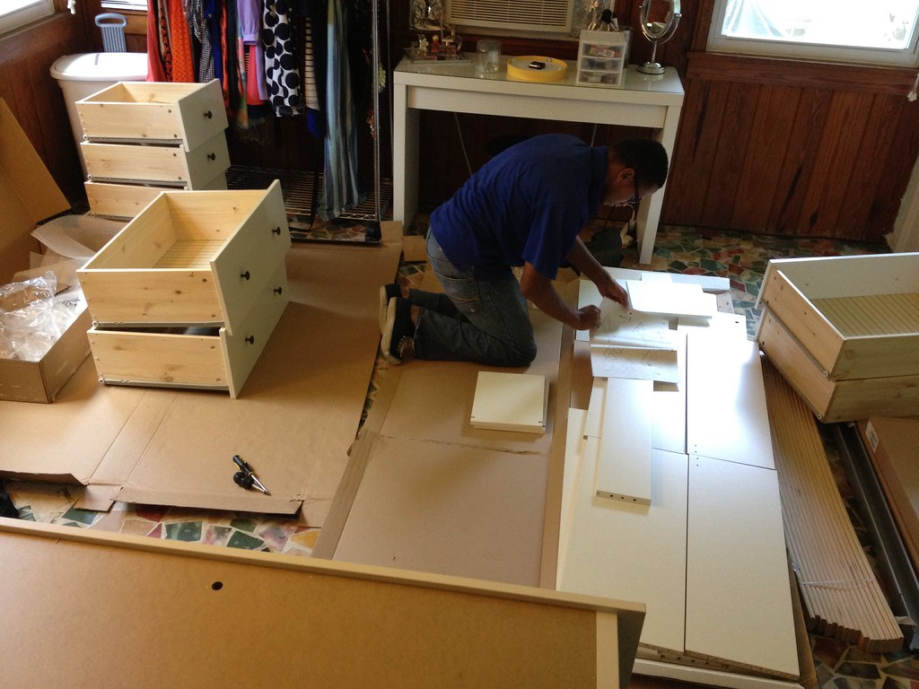 Home Furniture Assembly: Assembling The IKEA HEMNES Dresser W/ 8 Drawers  (before We