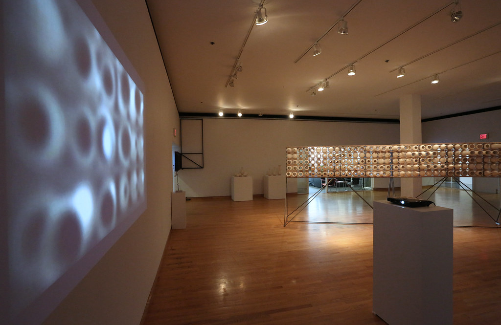 A view of the Sound of Space exhibition in Hartell Gallery, showing both digital projection and 3D installations.
