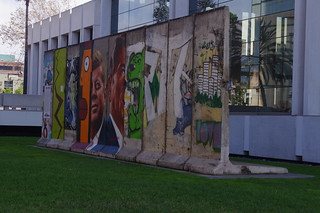Berlin Wall segments on Wilshire Boulevard in Los Angeles
