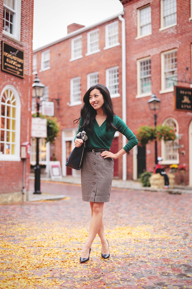 green wrap top herringbone skirt1