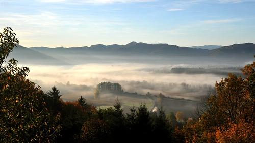 morning autumn oktober mist fall misty fog landscape austria october herbst foggy valley landschaft höst steiermark styria sulmtal grosklein