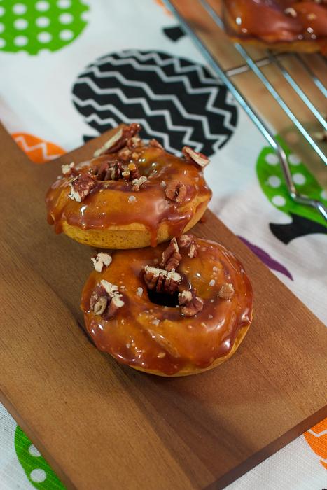 Bourbon Caramel Glazed Pumpkin Donuts #SundaySupper