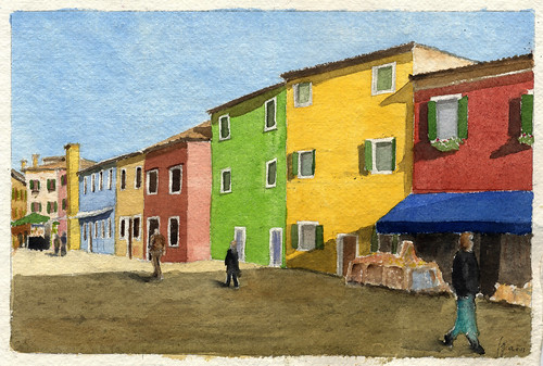 Houses in Burano 04-11-13 watercolor