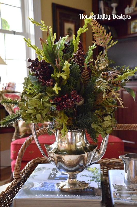 Christmas Arrangment in Vintage Silver Teapot
