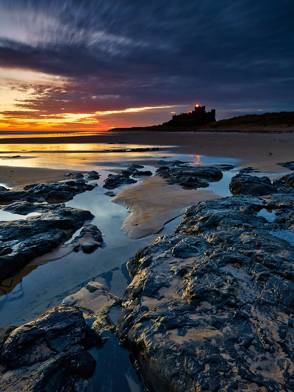 Sunlight On Rocks, Bamburgh Castle