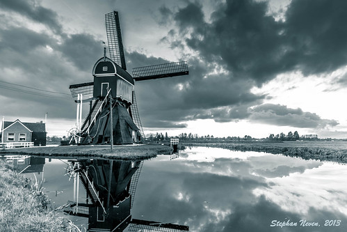 sunset white black netherlands windmill landscape duotone zwart wit molen bonrepas