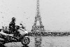 Motorcycle at Eiffel Tower, Paris by Photos-Change-The-World