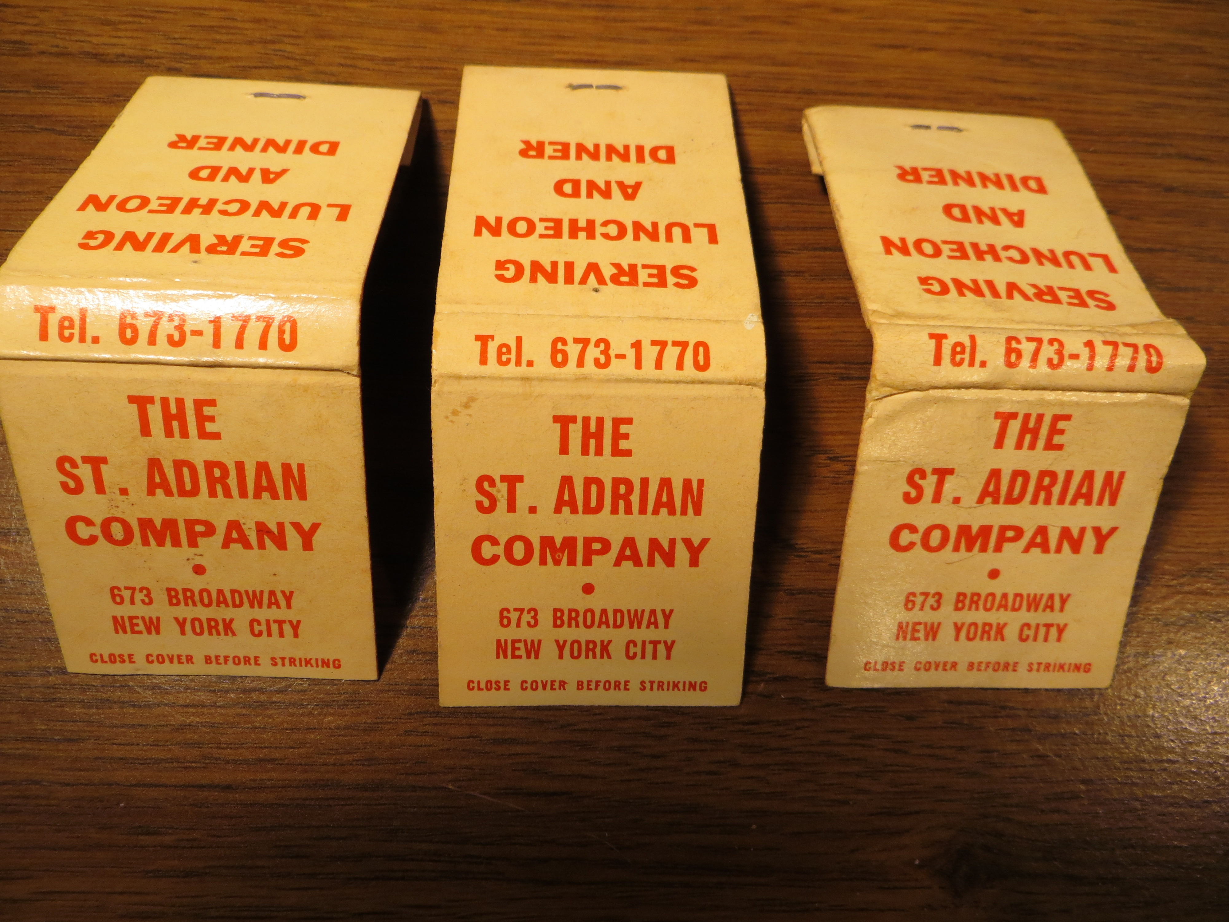 The St. Adrian Company Matchbooks (1970-1971)(Richard Schuster Collection)