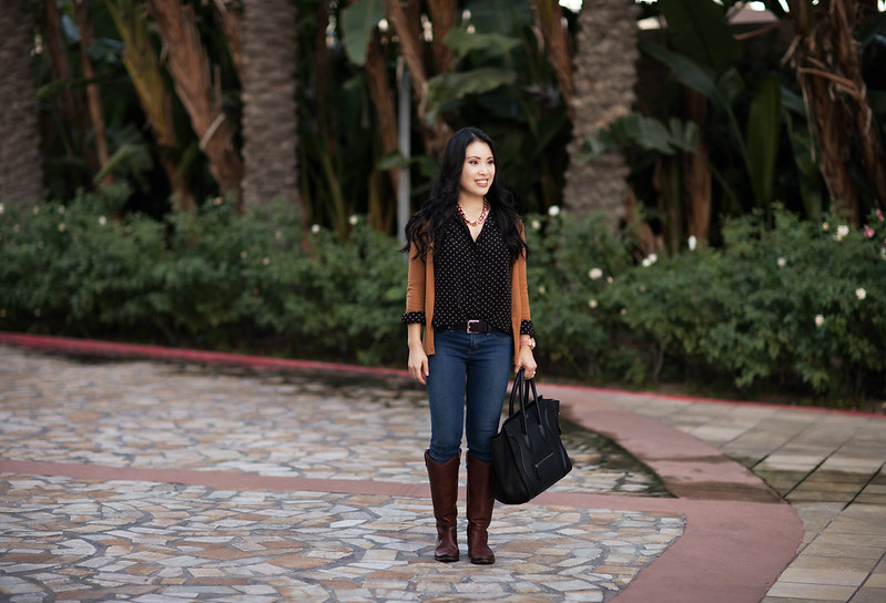 cute & little blog   cardigan, black polka dot shirt, henry & belle jeans, frye melissa boots outfit