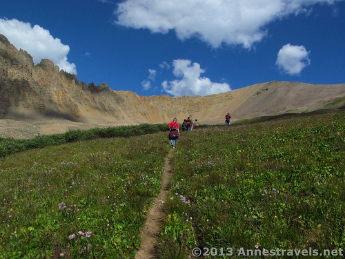 Hiking through the meadow on the Electric Pass Trail, White River National Forest, Colorado