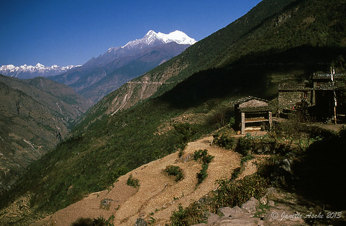 travel nepal mountains film trekking 35mm river asia hiking 1988 terraces slide snowcapped huts valley fields fujifilm scannedslide langtang bokajhunda trisuliganga