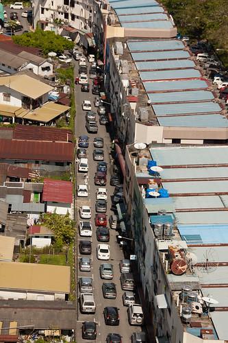 street cars hotel view miri aerial sarawak malaysia borneo meritz shoplots