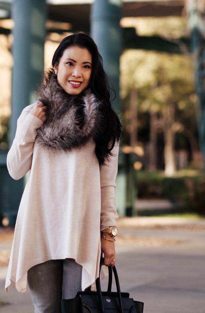 cute & little blog | asos fur snood, h&m asymmetric hem sweater, gray jeans, celine | casual outfit
