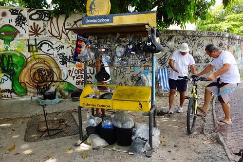 Fixing bicycles in Rio de Janeiro